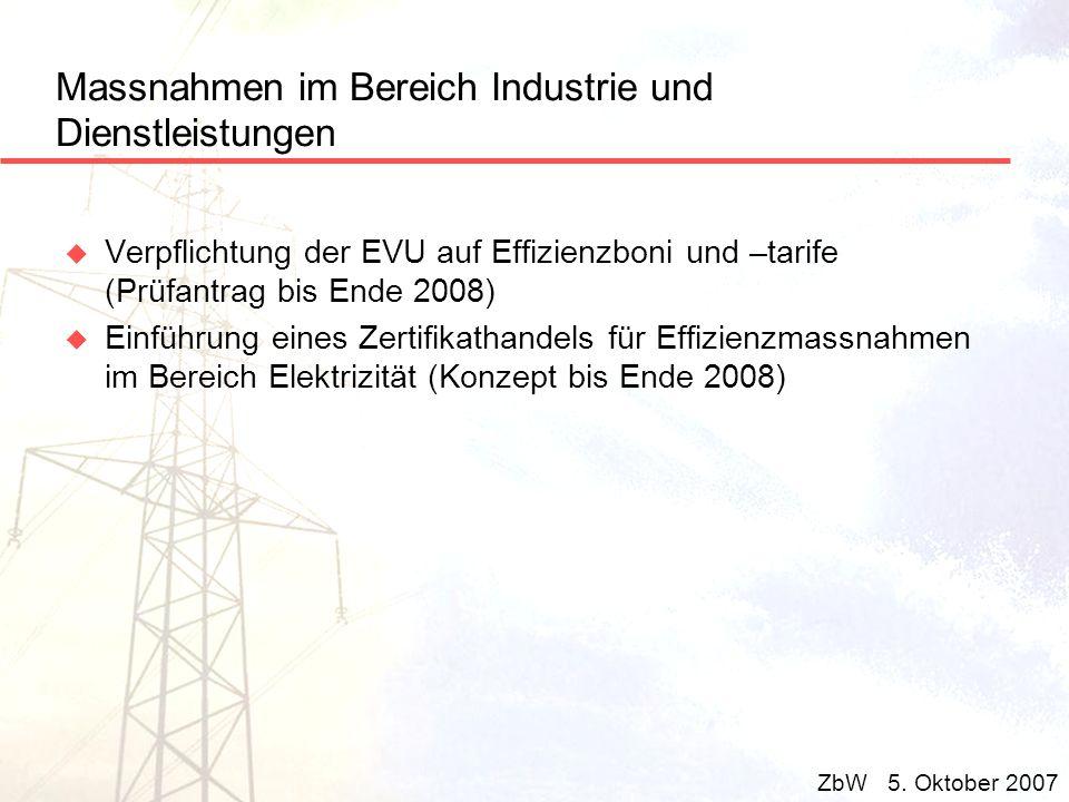 Massnahmen im Bereich Industrie und Dienstleistungen u Verpflichtung der EVU auf Effizienzboni und –tarife (Prüfantrag bis Ende 2008) u Einführung ein