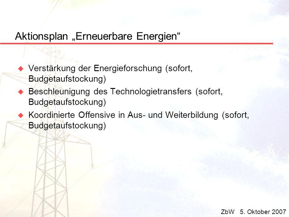 Aktionsplan Erneuerbare Energien u Verstärkung der Energieforschung (sofort, Budgetaufstockung) u Beschleunigung des Technologietransfers (sofort, Bud