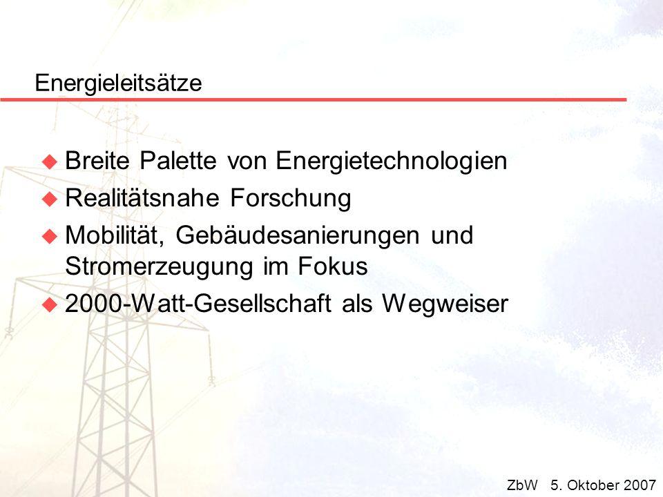 Energieleitsätze u Breite Palette von Energietechnologien u Realitätsnahe Forschung u Mobilität, Gebäudesanierungen und Stromerzeugung im Fokus u 2000
