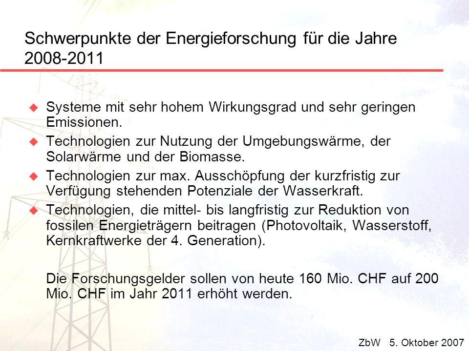 Schwerpunkte der Energieforschung für die Jahre 2008-2011 u Systeme mit sehr hohem Wirkungsgrad und sehr geringen Emissionen. u Technologien zur Nutzu