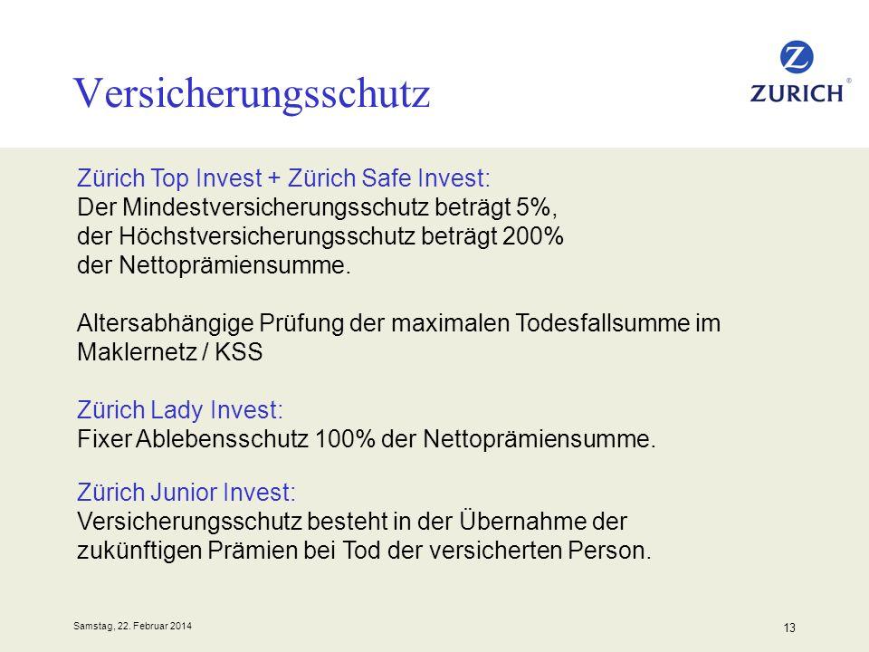 Samstag, 22. Februar 2014 13 Versicherungsschutz Zürich Top Invest + Zürich Safe Invest: Der Mindestversicherungsschutz beträgt 5%, der Höchstversiche