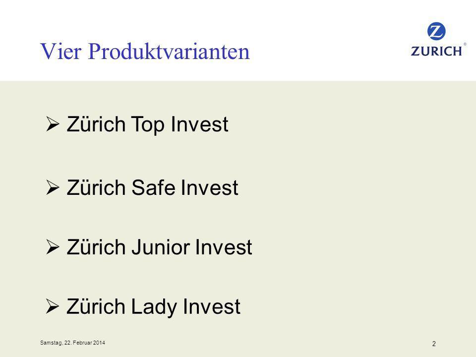 Samstag, 22. Februar 2014 2 Zürich Top Invest Vier Produktvarianten Zürich Safe Invest Zürich Junior Invest Zürich Lady Invest