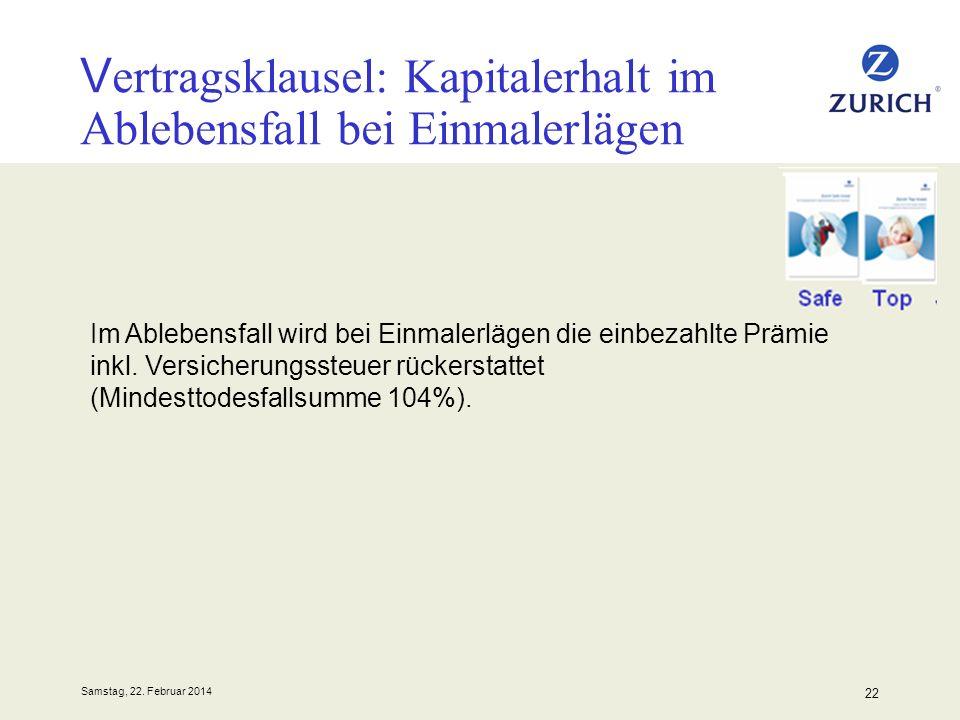 Samstag, 22. Februar 2014 22 Vertragsklausel: Kapitalerhalt im Ablebensfall bei Einmalerlägen Im Ablebensfall wird bei Einmalerlägen die einbezahlte P