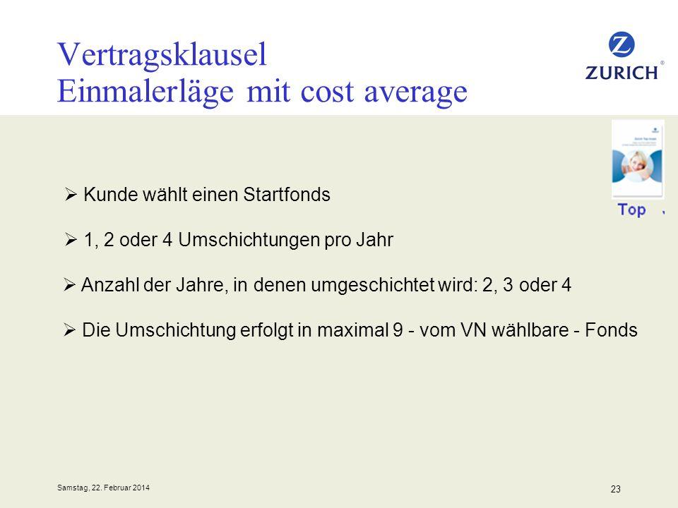Samstag, 22. Februar 2014 23 Vertragsklausel Einmalerläge mit cost average Kunde wählt einen Startfonds 1, 2 oder 4 Umschichtungen pro Jahr Anzahl der
