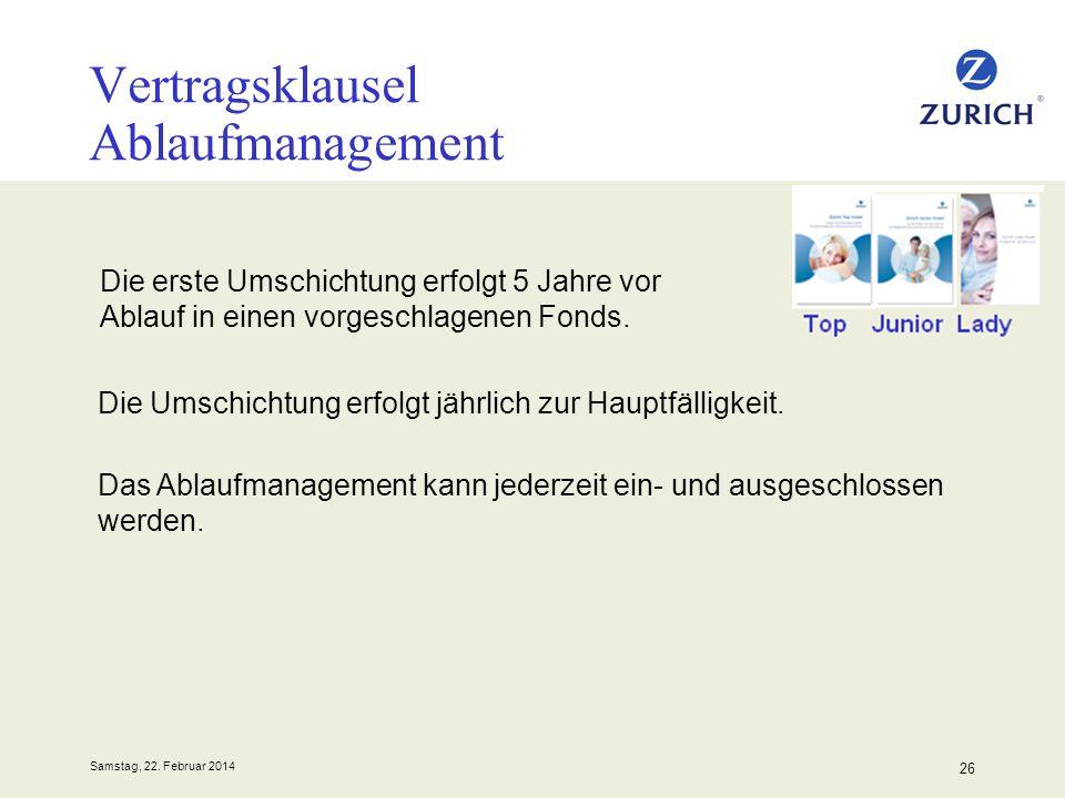 Samstag, 22. Februar 2014 26 Vertragsklausel Ablaufmanagement Die erste Umschichtung erfolgt 5 Jahre vor Ablauf in einen vorgeschlagenen Fonds. Die Um