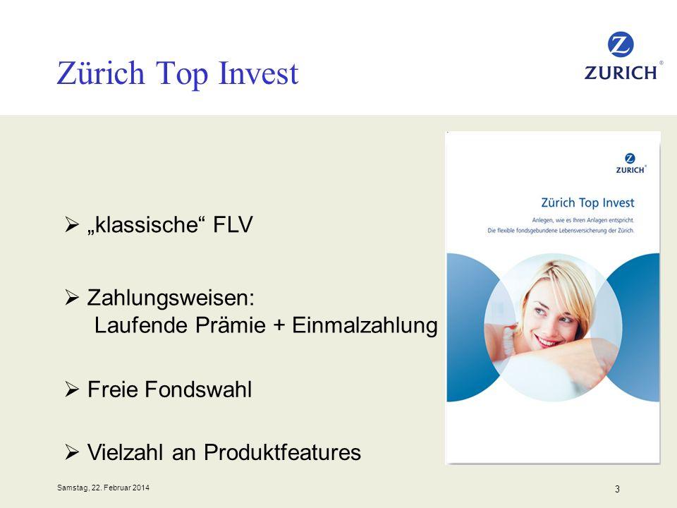 Samstag, 22. Februar 2014 3 Zürich Top Invest klassische FLV Zahlungsweisen: Laufende Prämie + Einmalzahlung Freie Fondswahl Vielzahl an Produktfeatur
