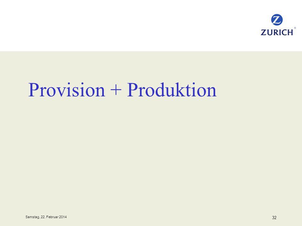 Samstag, 22. Februar 2014 32 Provision + Produktion