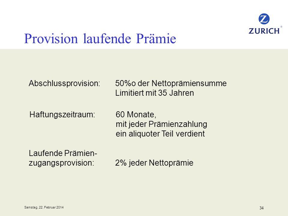 Samstag, 22. Februar 2014 34 Provision laufende Prämie Laufende Prämien- zugangsprovision: 2% jeder Nettoprämie Abschlussprovision:50%o der Nettoprämi