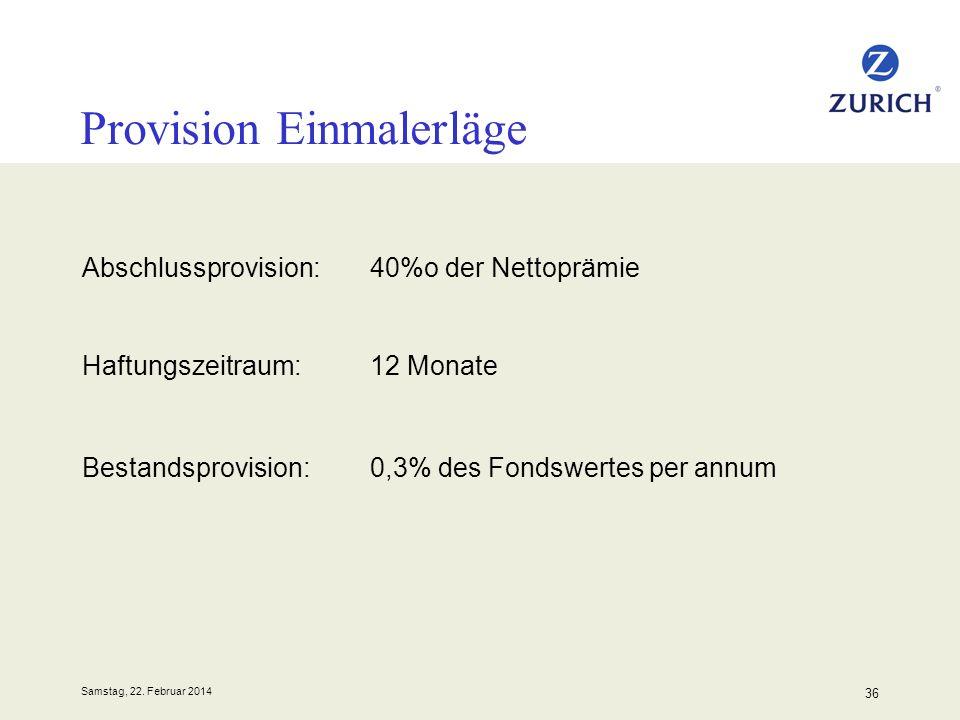 Samstag, 22. Februar 2014 36 Provision Einmalerläge Abschlussprovision:40%o der Nettoprämie Haftungszeitraum:12 Monate Bestandsprovision:0,3% des Fond