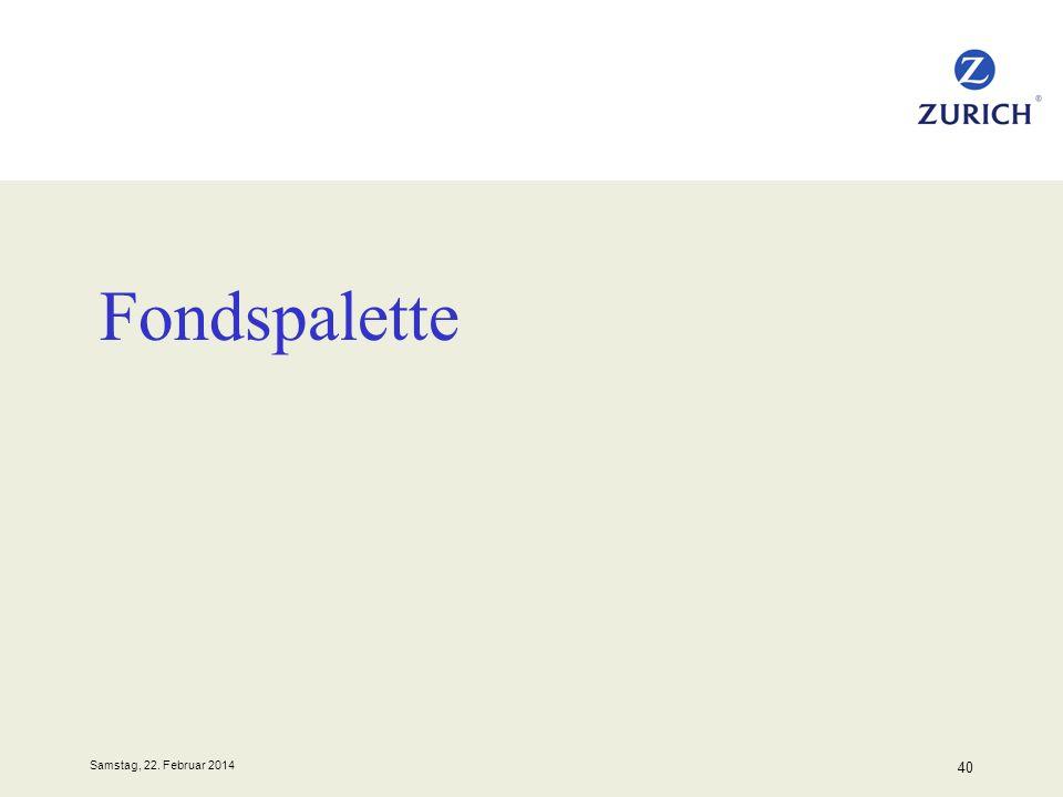 Samstag, 22. Februar 2014 40 Fondspalette