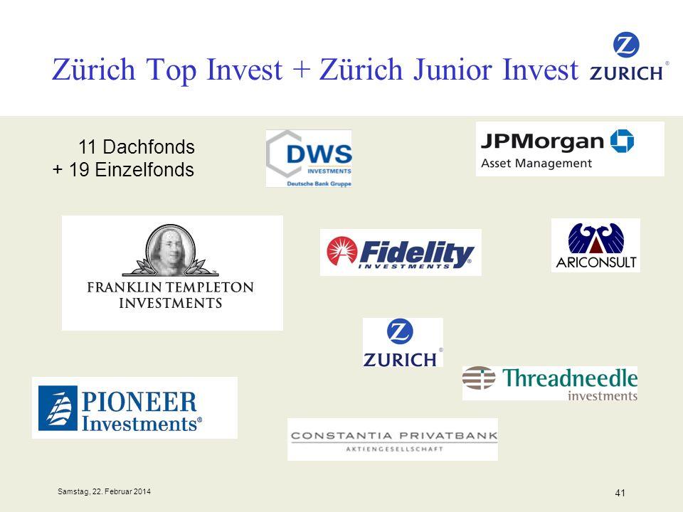 Samstag, 22. Februar 2014 41 Zürich Top Invest + Zürich Junior Invest 11 Dachfonds + 19 Einzelfonds