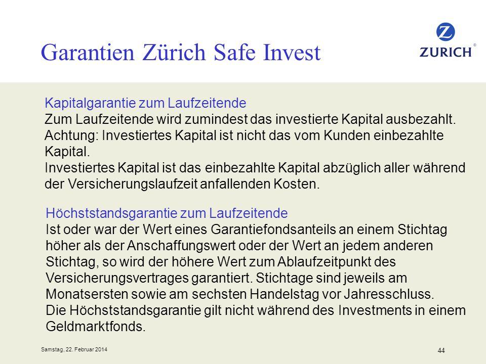 Samstag, 22. Februar 2014 44 Garantien Zürich Safe Invest Kapitalgarantie zum Laufzeitende Zum Laufzeitende wird zumindest das investierte Kapital aus