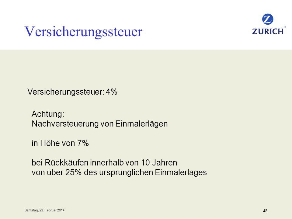 Samstag, 22. Februar 2014 48 Versicherungssteuer Versicherungssteuer: 4% Achtung: Nachversteuerung von Einmalerlägen in Höhe von 7% bei Rückkäufen inn