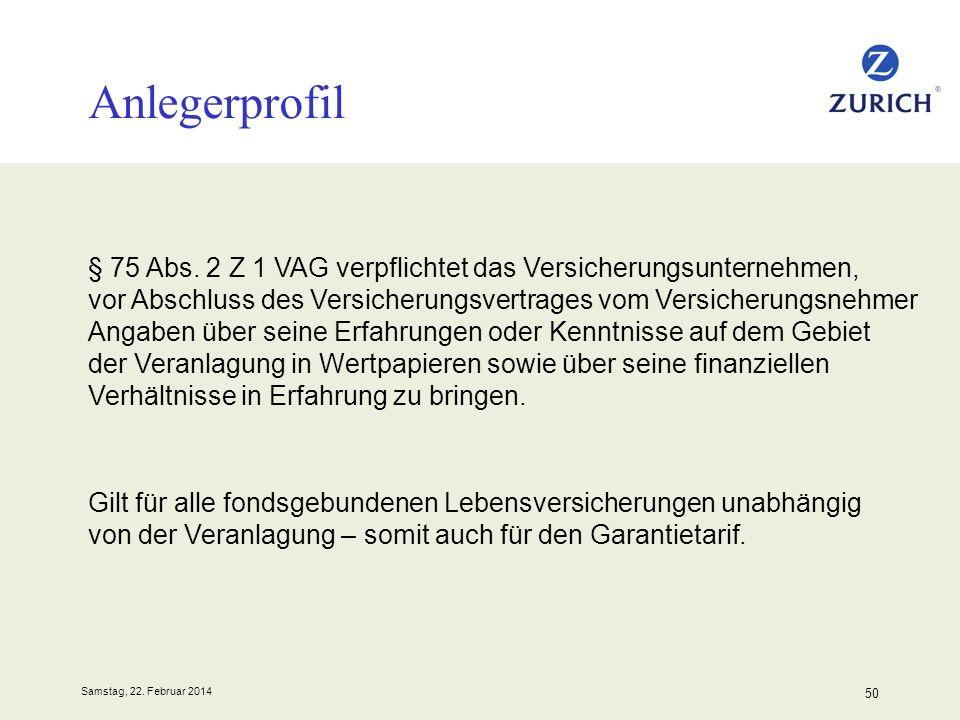 Samstag, 22. Februar 2014 50 Anlegerprofil § 75 Abs. 2 Z 1 VAG verpflichtet das Versicherungsunternehmen, vor Abschluss des Versicherungsvertrages vom
