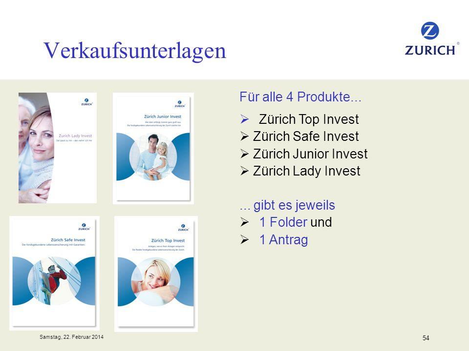 Samstag, 22. Februar 2014 54 Verkaufsunterlagen Für alle 4 Produkte... Zürich Top Invest Zürich Safe Invest Zürich Junior Invest Zürich Lady Invest...