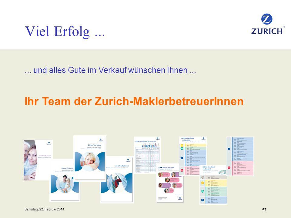 Samstag, 22. Februar 2014 57 Viel Erfolg...... und alles Gute im Verkauf wünschen Ihnen... Ihr Team der Zurich-MaklerbetreuerInnen