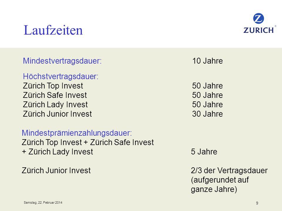 Samstag, 22. Februar 2014 9 Laufzeiten Mindestvertragsdauer:10 Jahre Höchstvertragsdauer: Zürich Top Invest50 Jahre Zürich Safe Invest50 Jahre Zürich