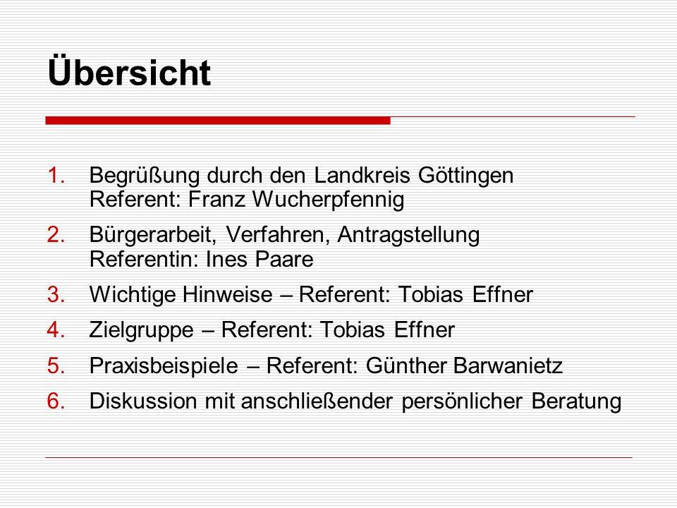 Übersicht 1.Begrüßung durch den Landkreis Göttingen Referent: Franz Wucherpfennig 2.Bürgerarbeit, Verfahren, Antragstellung Referentin: Ines Paare 3.W