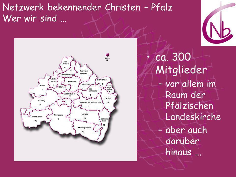 ca. 300 Mitglieder –vor allem im Raum der Pfälzischen Landeskirche –aber auch darüber hinaus... Netzwerk bekennender Christen – Pfalz Wer wir sind...