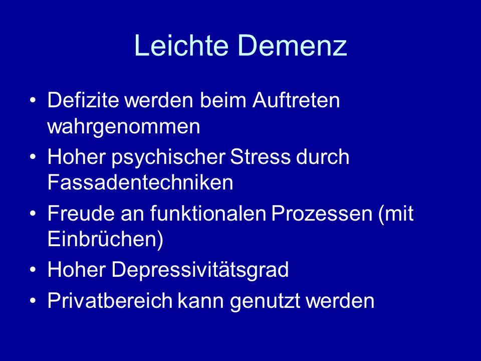 Leichte Demenz Defizite werden beim Auftreten wahrgenommen Hoher psychischer Stress durch Fassadentechniken Freude an funktionalen Prozessen (mit Einbrüchen) Hoher Depressivitätsgrad Privatbereich kann genutzt werden