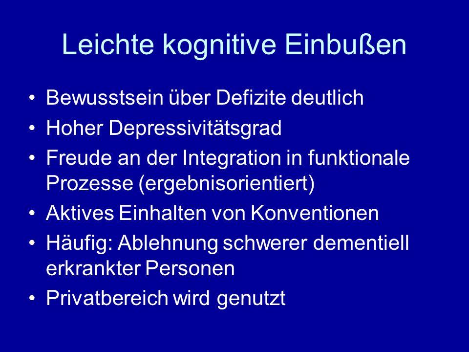 Leichte kognitive Einbußen Bewusstsein über Defizite deutlich Hoher Depressivitätsgrad Freude an der Integration in funktionale Prozesse (ergebnisorientiert) Aktives Einhalten von Konventionen Häufig: Ablehnung schwerer dementiell erkrankter Personen Privatbereich wird genutzt