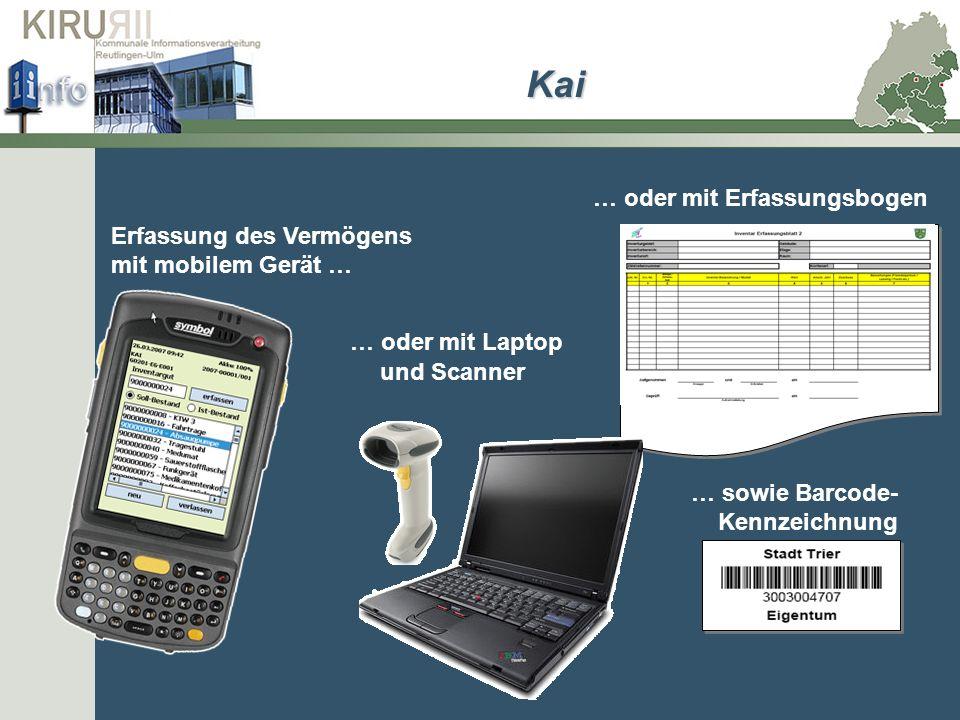 Erfassung des Vermögens mit mobilem Gerät … … oder mit Laptop … oder mit Erfassungsbogen … sowie Barcode- Kennzeichnung und Scanner Kai