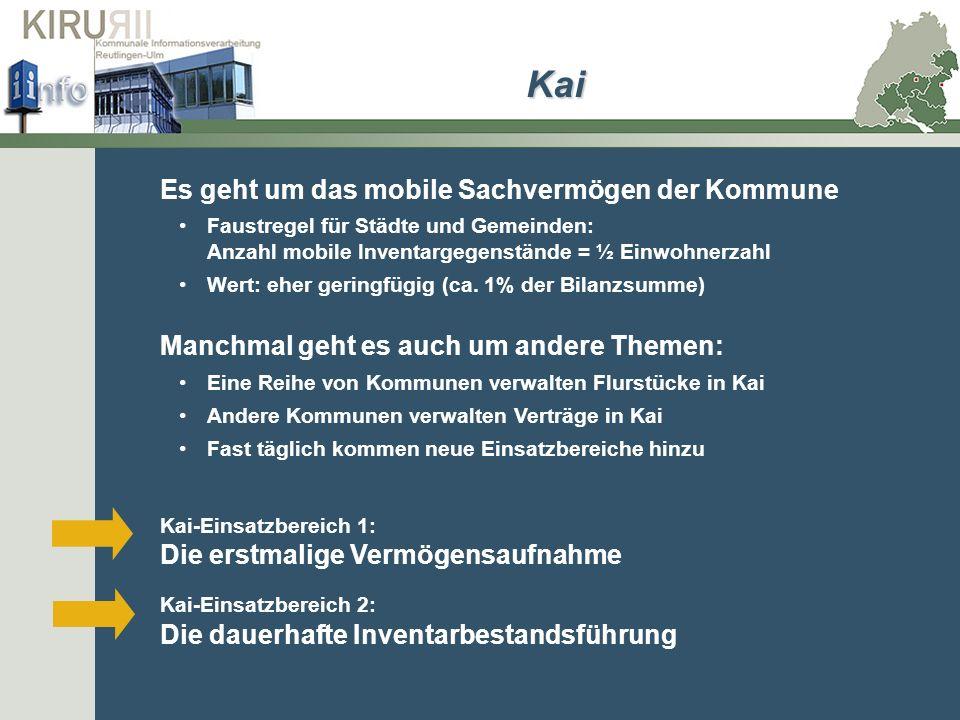 Es geht um das mobile Sachvermögen der Kommune Faustregel für Städte und Gemeinden: Anzahl mobile Inventargegenstände = ½ Einwohnerzahl Wert: eher ger