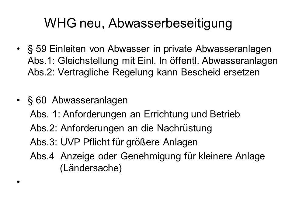 WHG neu, Abwasserbeseitigung § 59 Einleiten von Abwasser in private Abwasseranlagen Abs.1: Gleichstellung mit Einl. In öffentl. Abwasseranlagen Abs.2: