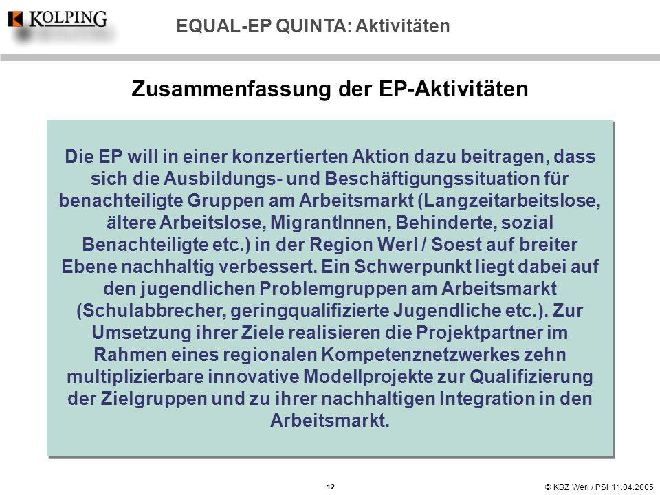 © KBZ Werl / PSI 11.04.2005 EQUAL-EP QUINTA: Aktivitäten Zusammenfassung der EP-Aktivitäten Die EP will in einer konzertierten Aktion dazu beitragen,