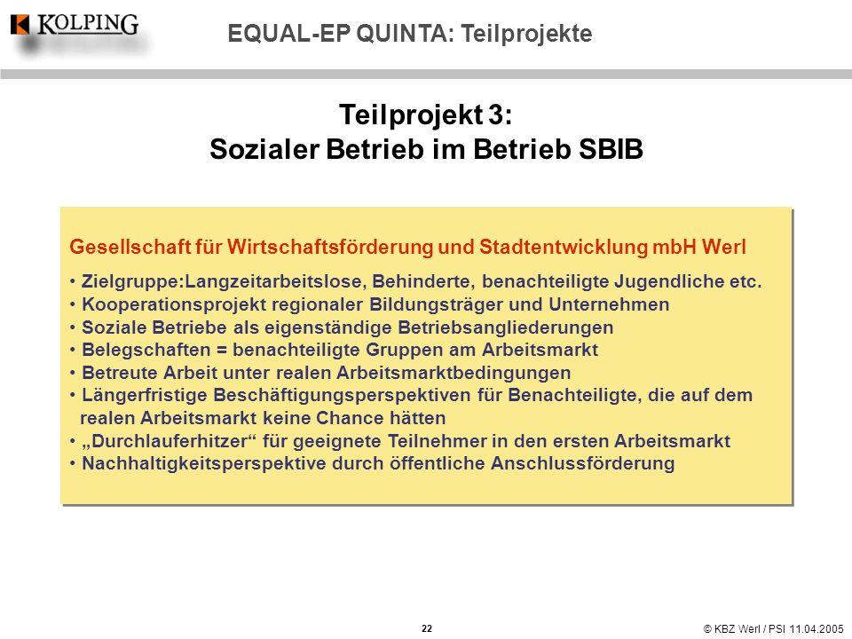 © KBZ Werl / PSI 11.04.2005 Teilprojekt 3: Sozialer Betrieb im Betrieb SBIB Gesellschaft für Wirtschaftsförderung und Stadtentwicklung mbH Werl Zielgr