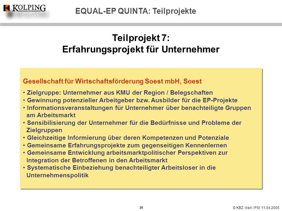 © KBZ Werl / PSI 11.04.2005 Teilprojekt 7: Erfahrungsprojekt für Unternehmer Gesellschaft für Wirtschaftsförderung Soest mbH, Soest Zielgruppe: Untern