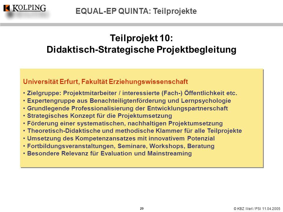 © KBZ Werl / PSI 11.04.2005 Teilprojekt 10: Didaktisch-Strategische Projektbegleitung Universität Erfurt, Fakultät Erziehungswissenschaft Zielgruppe: