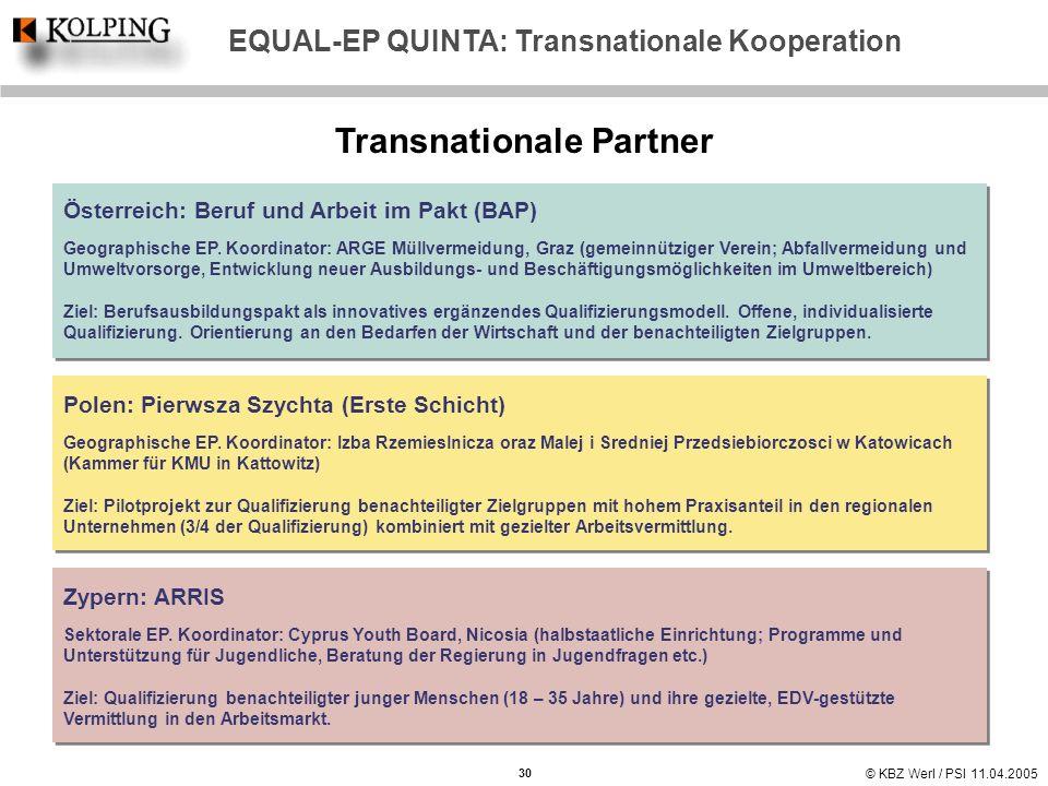 © KBZ Werl / PSI 11.04.2005 Transnationale Partner 30 EQUAL-EP QUINTA: Transnationale Kooperation Österreich: Beruf und Arbeit im Pakt (BAP) Geographi