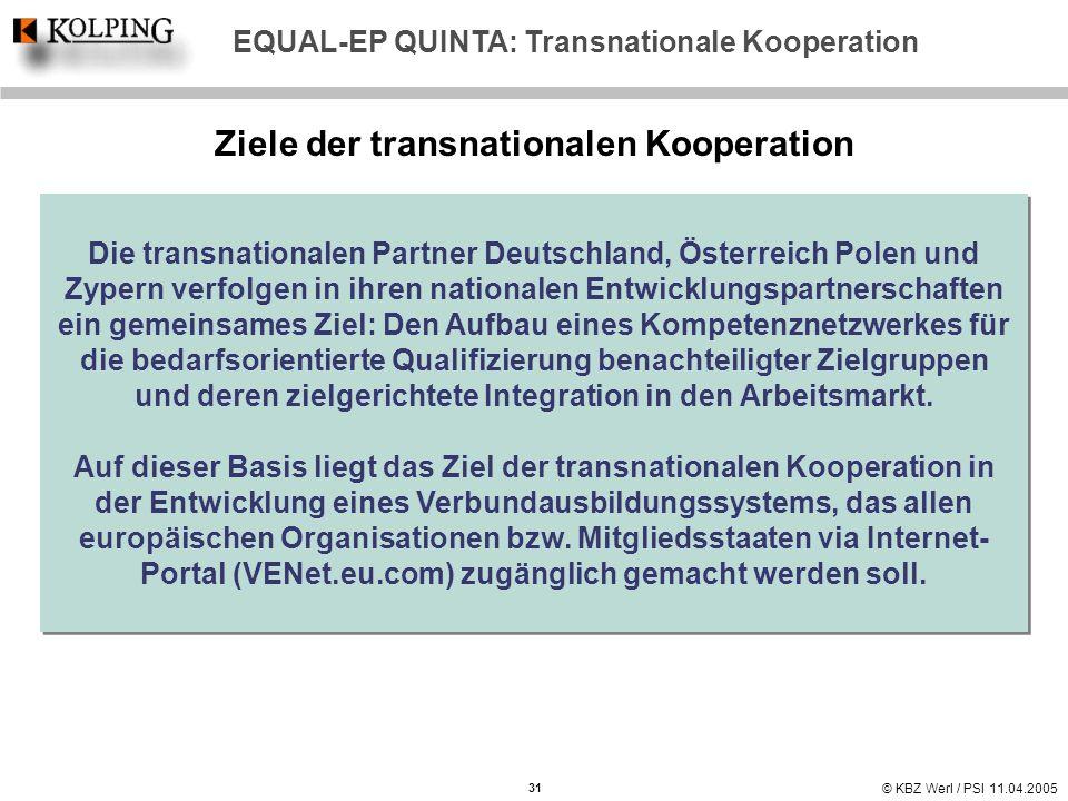 © KBZ Werl / PSI 11.04.2005 Ziele der transnationalen Kooperation 31 EQUAL-EP QUINTA: Transnationale Kooperation Die transnationalen Partner Deutschla