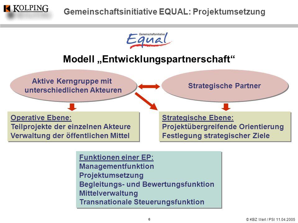 © KBZ Werl / PSI 11.04.2005 Gemeinschaftsinitiative EQUAL: Projektumsetzung Modell Entwicklungspartnerschaft Operative Ebene: Teilprojekte der einzeln