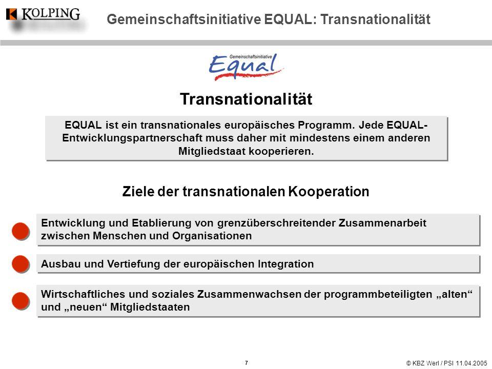 © KBZ Werl / PSI 11.04.2005 Gemeinschaftsinitiative EQUAL: Transnationalität Transnationalität EQUAL ist ein transnationales europäisches Programm. Je