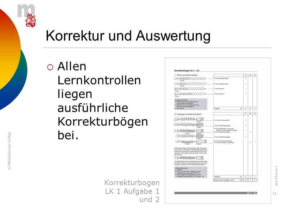 © Mildenberger Verlag 11 Korrektur und Auswertung Allen Lernkontrollen liegen ausführliche Korrekturbögen bei. Korrekturbogen LK 1 Aufgabe 1 und 2 aus