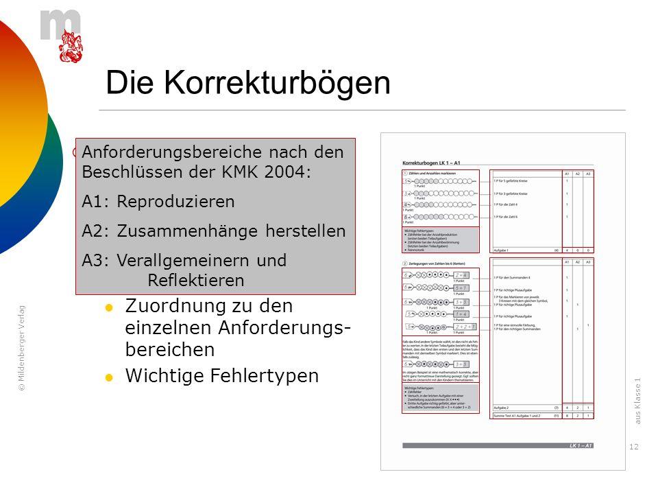 © Mildenberger Verlag 12 Die Korrekturbögen Die Korrekturbögen zeigen: Lösungen Punkteverteilung Abweichende Lösungsmöglichkeiten Zuordnung zu den ein