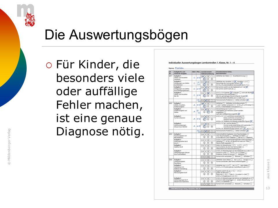 © Mildenberger Verlag 13 Die Auswertungsbögen Für Kinder, die besonders viele oder auffällige Fehler machen, ist eine genaue Diagnose nötig. aus Klass