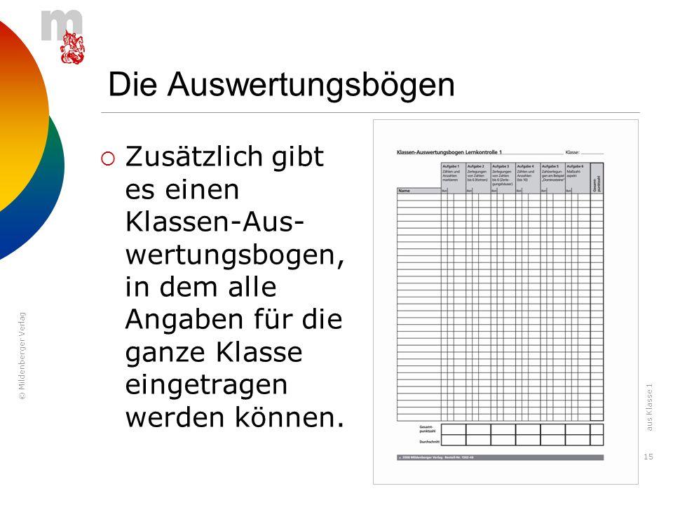 © Mildenberger Verlag 15 Zusätzlich gibt es einen Klassen-Aus- wertungsbogen, in dem alle Angaben für die ganze Klasse eingetragen werden können. Die