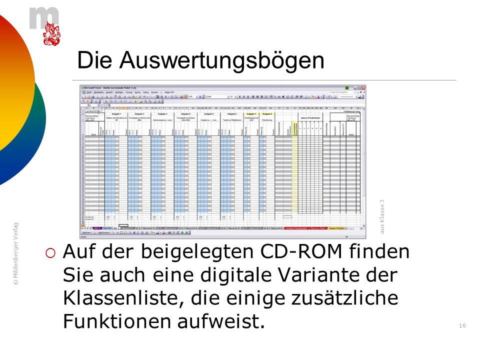 © Mildenberger Verlag 16 Auf der beigelegten CD-ROM finden Sie auch eine digitale Variante der Klassenliste, die einige zusätzliche Funktionen aufweis