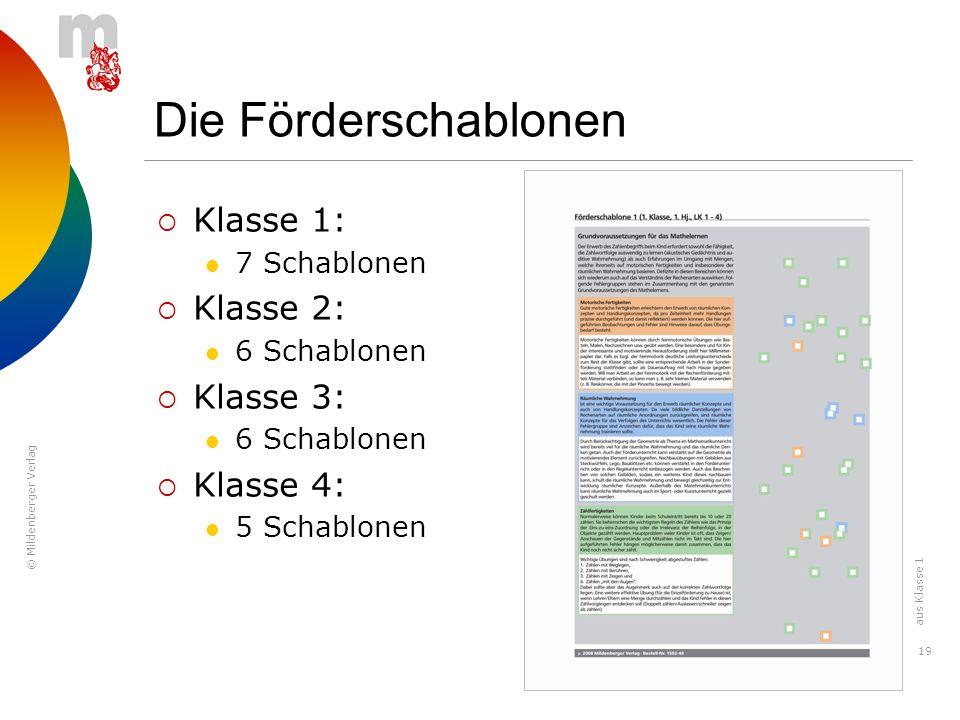 © Mildenberger Verlag 19 Die Förderschablonen Klasse 1: 7 Schablonen Klasse 2: 6 Schablonen Klasse 3: 6 Schablonen Klasse 4: 5 Schablonen aus Klasse 1