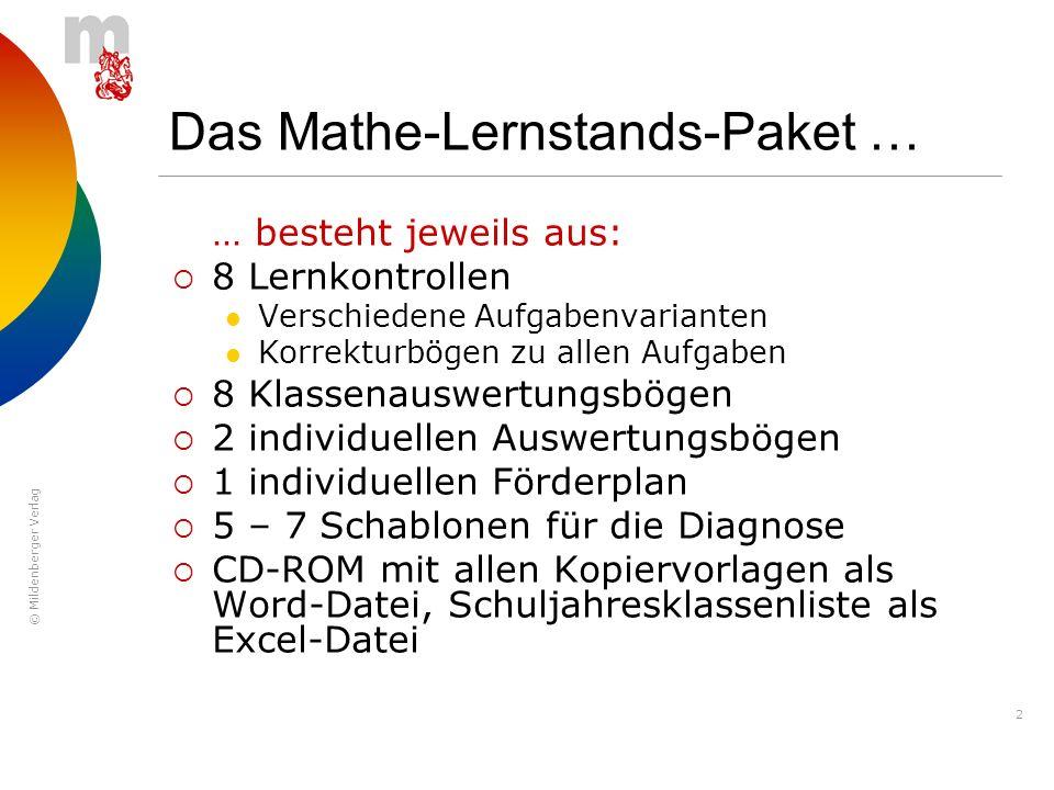 © Mildenberger Verlag 2 Das Mathe-Lernstands-Paket … … besteht jeweils aus: 8 Lernkontrollen Verschiedene Aufgabenvarianten Korrekturbögen zu allen Au