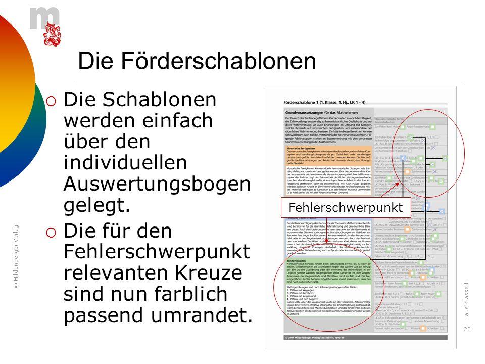 © Mildenberger Verlag 20 Die Förderschablonen Die Schablonen werden einfach über den individuellen Auswertungsbogen gelegt. Die für den Fehlerschwerpu