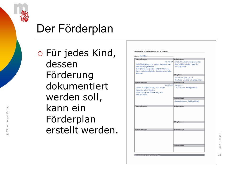 © Mildenberger Verlag 21 Der Förderplan Für jedes Kind, dessen Förderung dokumentiert werden soll, kann ein Förderplan erstellt werden. aus Klasse 1