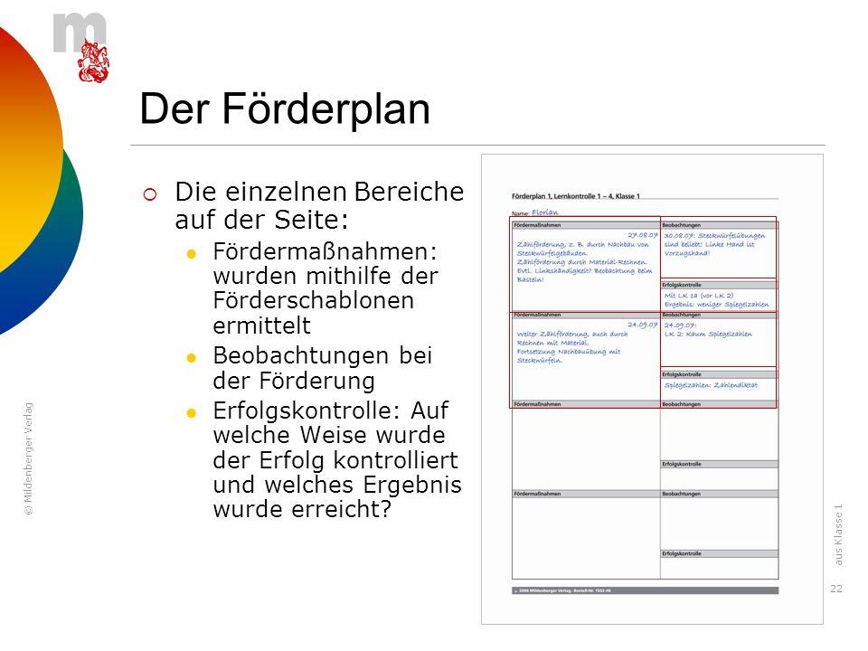 © Mildenberger Verlag 22 Der Förderplan Die einzelnen Bereiche auf der Seite: Fördermaßnahmen: wurden mithilfe der Förderschablonen ermittelt Beobacht
