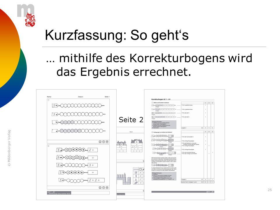 © Mildenberger Verlag 25 Kurzfassung: So gehts … mithilfe des Korrekturbogens wird das Ergebnis errechnet. Seite 1Seite 2Seite 3