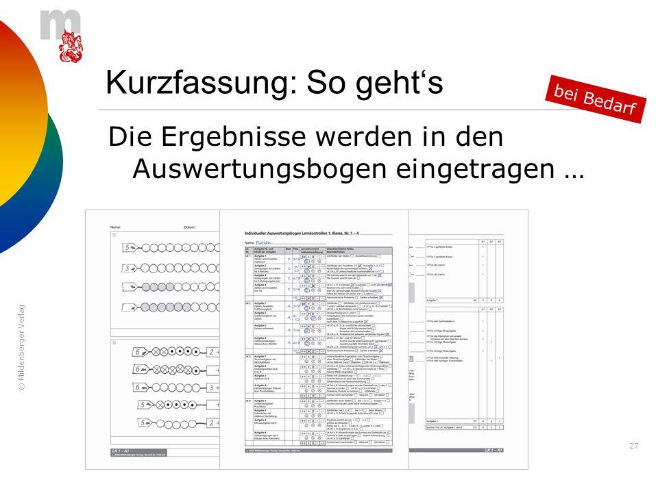 © Mildenberger Verlag 27 Kurzfassung: So gehts Die Ergebnisse werden in den Auswertungsbogen eingetragen … bei Bedarf
