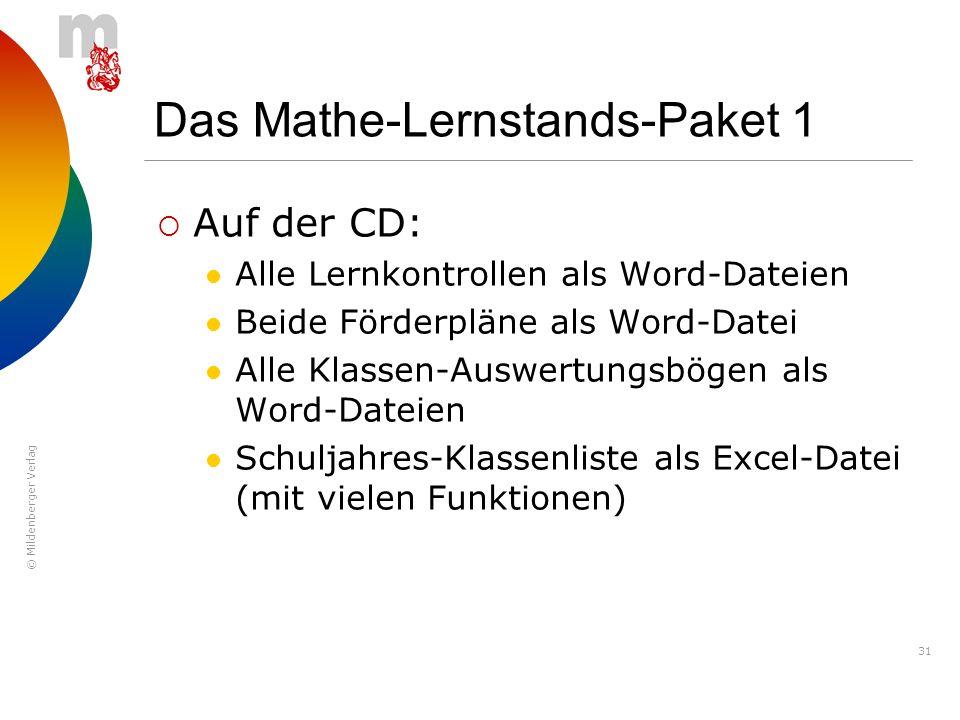 © Mildenberger Verlag 31 Das Mathe-Lernstands-Paket 1 Auf der CD: Alle Lernkontrollen als Word-Dateien Beide Förderpläne als Word-Datei Alle Klassen-A