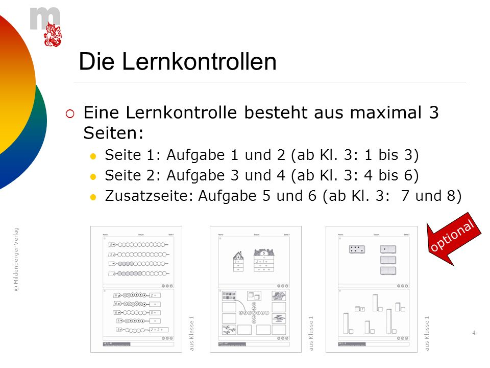 © Mildenberger Verlag 4 Die Lernkontrollen Eine Lernkontrolle besteht aus maximal 3 Seiten: Seite 1: Aufgabe 1 und 2 (ab Kl. 3: 1 bis 3) Seite 2: Aufg